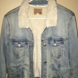 American Eagle faux sheep skin denim jacket